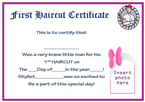 First Haircut Award Certificate