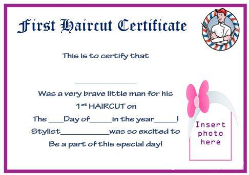 First Haircut Award Certificate