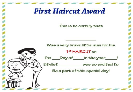First Haircut Certificate 2