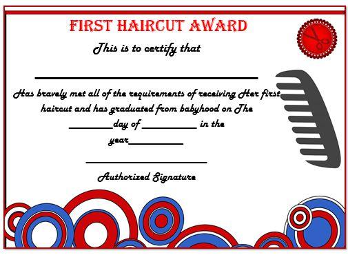First Haircut Certificate London