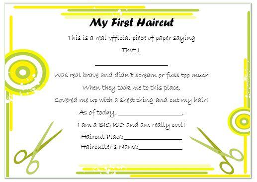First Haircut Certificate London 2