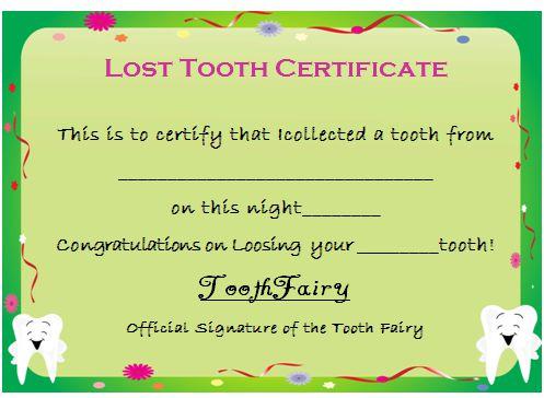Tooth Fairy Certificate Template Best Design Sertificate 2018