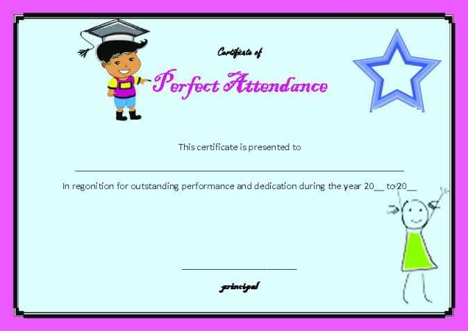 photograph regarding Free Printable Perfect Attendance Certificates named suitable attendance template -