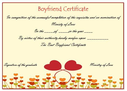 Perfect Boyfriend Certificate