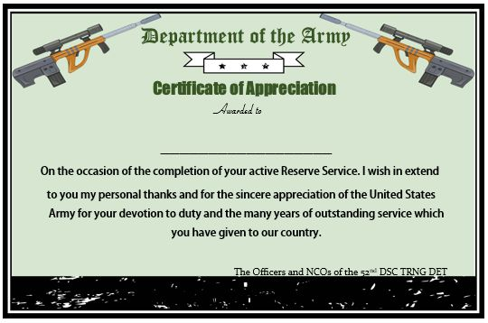 Presidential Certificate Of Appreciation Military Retirement