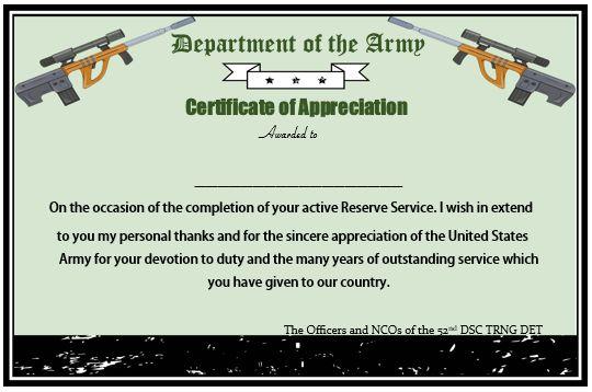 Presidential Certificate Of Appreciation Military Retirement