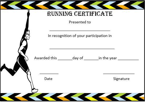 Printable Running Certificate