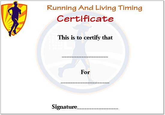 Running And Living Timing Certificate