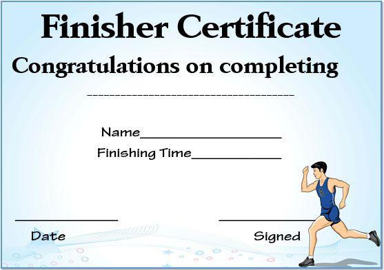 Running Finisher Certificate