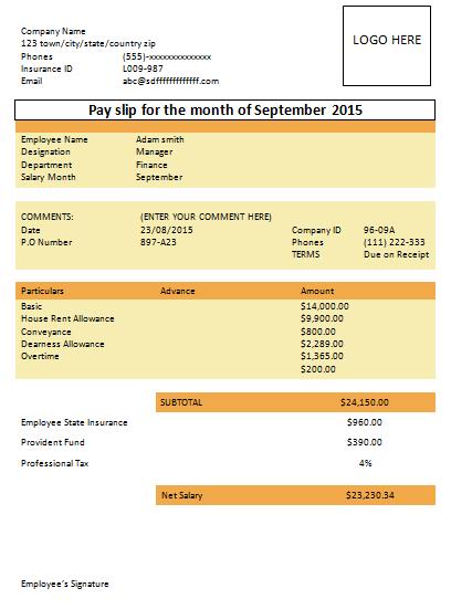 Salary Slip Format Basic