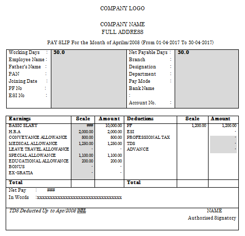 27 Sample Salary Slip Format in Word Templates Components of – Salary Slip Format