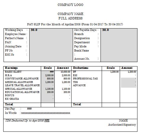 Salary Slip Format Bpo