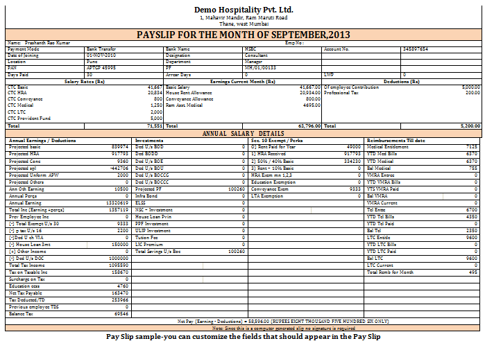 Salary Slip Format For Hotel Industry