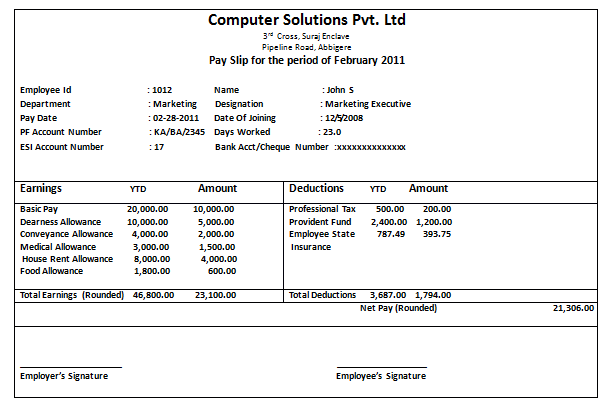 Salary Slip Format Software Company