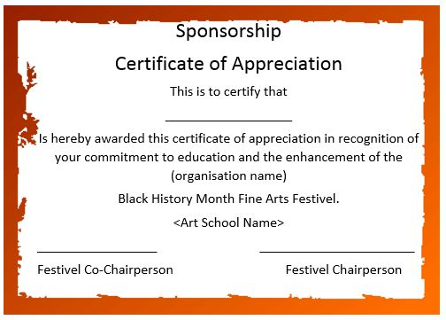 12 elegant certificates of appreciation for sponsorship for Certificate of appreciation template free