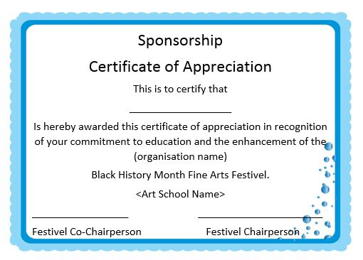 12 Elegant Certificates Of Appreciation For Sponsorship : Free Word  Templates   Demplates