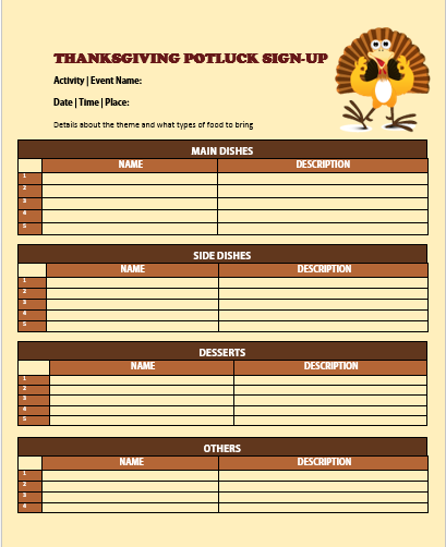 photograph regarding Thanksgiving Potluck Sign Up Sheet Printable named 60+ Suitable Potluck Signup Sheets For Cost-free (5th One particular Will Amaze