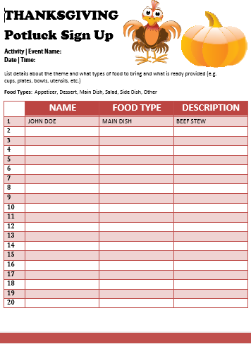 Luscious image regarding thanksgiving potluck sign up sheet printable