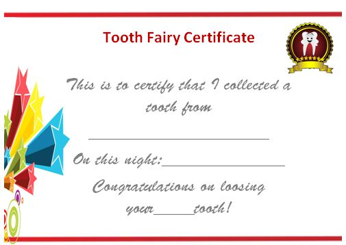 20 free tooth fairy certificates in stunning printable for Free printable tooth fairy certificate template