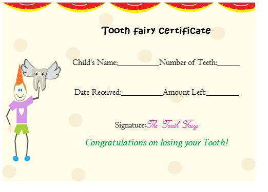 Tooth Fairy Certificate Free Template