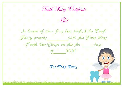 Tooth Fairy Certificate Girl