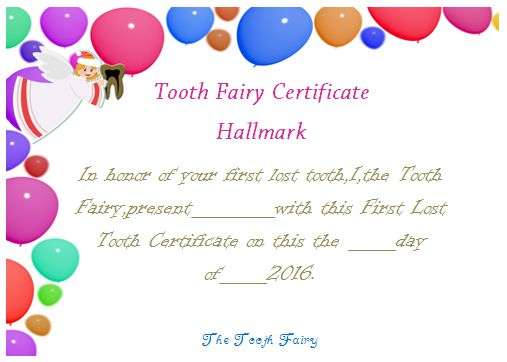 Tooth Fairy Certificate Hallmark
