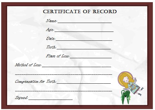 Tooth Fairy Certificate Of Record