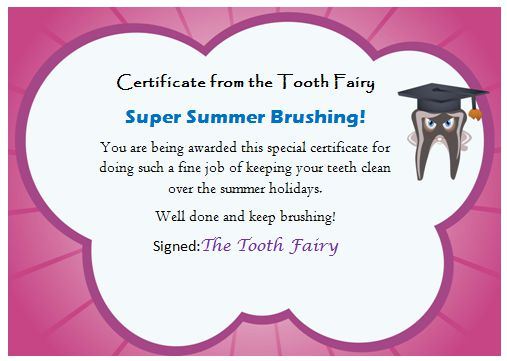 Tooth Fairy Certificate Template