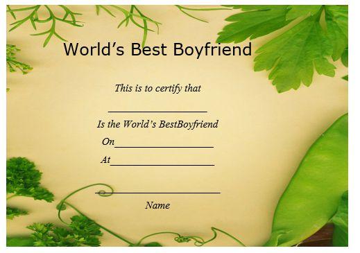 Worlds Best Boyfriend Certificate