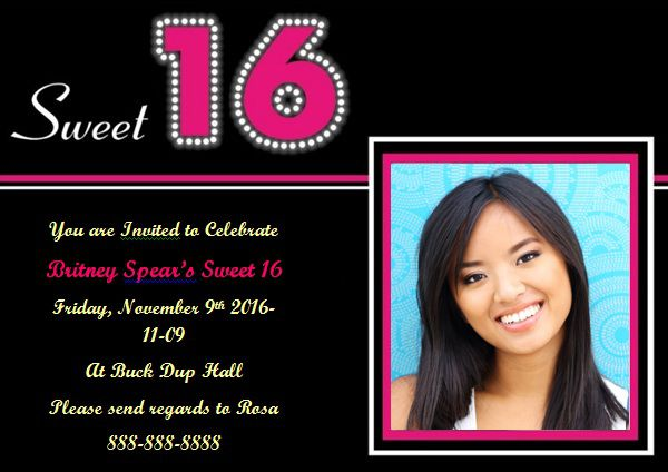 16th birthday invitation template