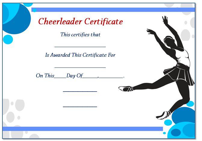 Cheerleader Certificate