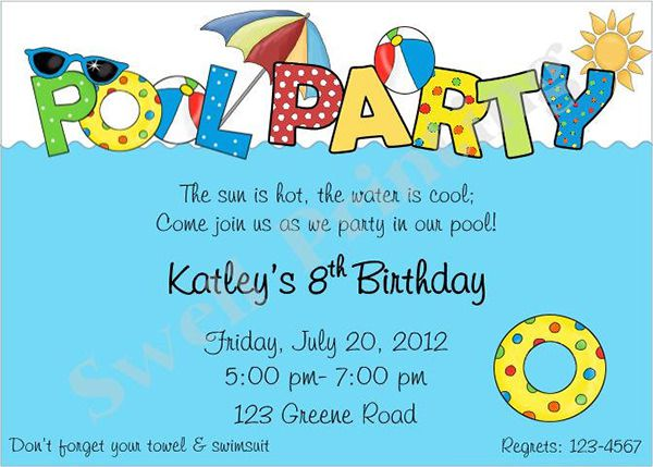Pool Party Birthday Invitation Template