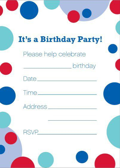color bubbles birthday invitation template