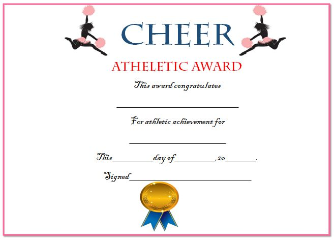 20 free printable cheerleading certificate templates for coaches kids demplates for Cheerleader award certificates