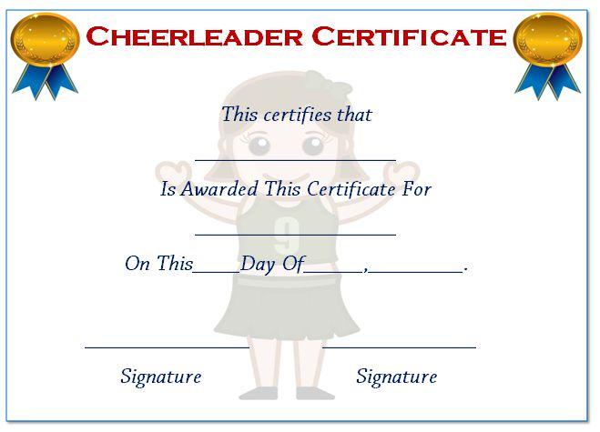 Cheerleader Certificate Online