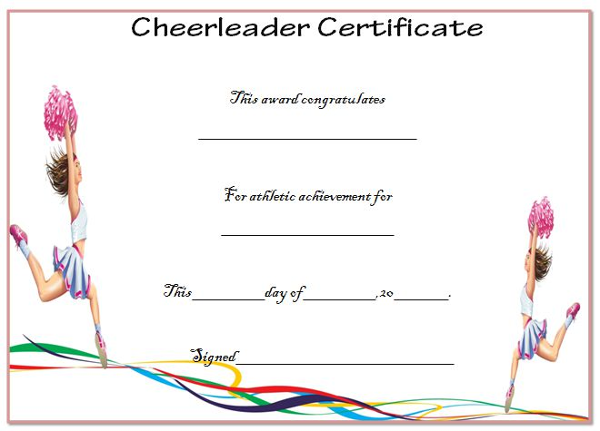 Cheerleader Certificates