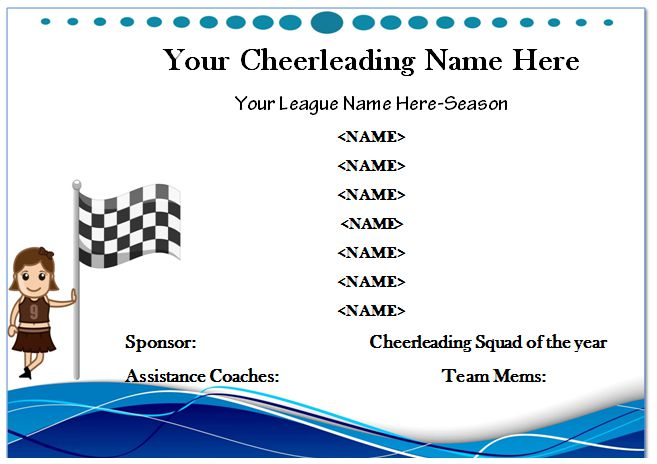 Cheerleader Participation Certificate
