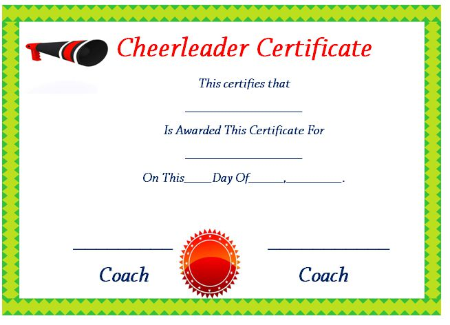 Cheerleading Certificate Of Participation