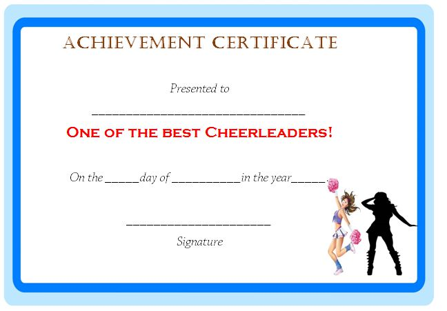 Cheerleading Achievement Certificate