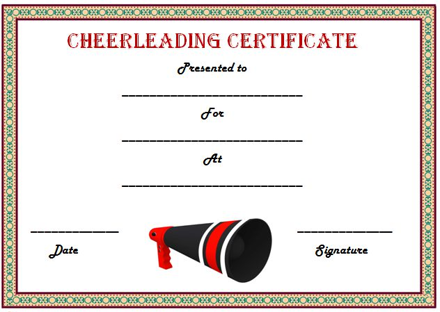 Cheerleading Award Certficate