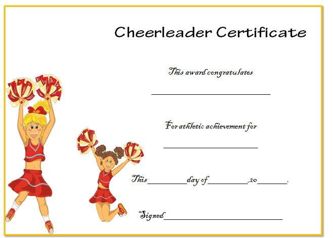Cheerleading Certficate Template