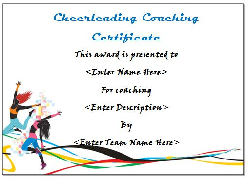 Cheerleading Coach Certificate
