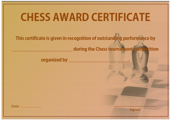 23 free printable chess certificates you can use for chess chess award certificate template 2 yelopaper Images