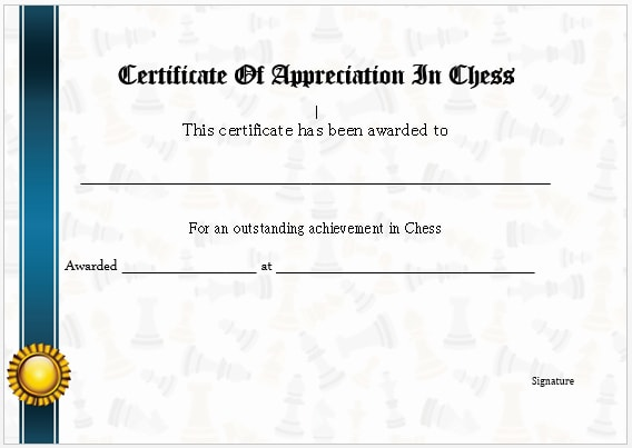 Chess Certificate Of Networthiness