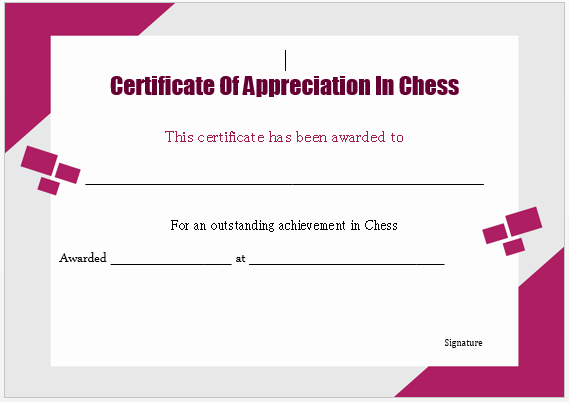 Chess Competition Certificate