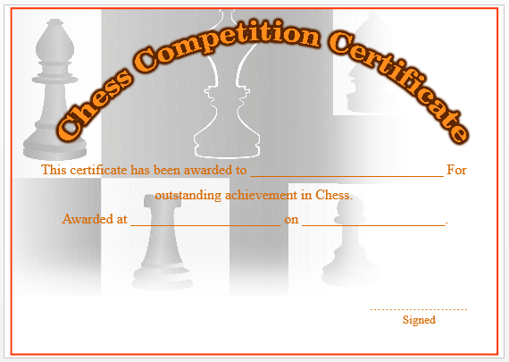 Chess Competition Certificate 2