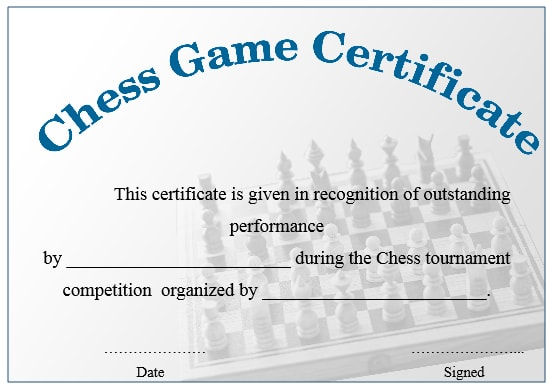 Chess Game Certificate 2