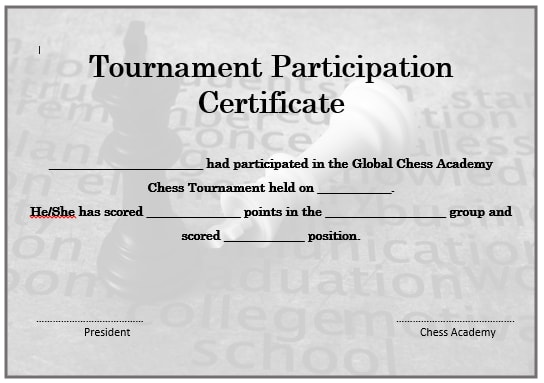 23 free printable chess certificates you can use for chess chess tournament participation certificate 2 yelopaper Images