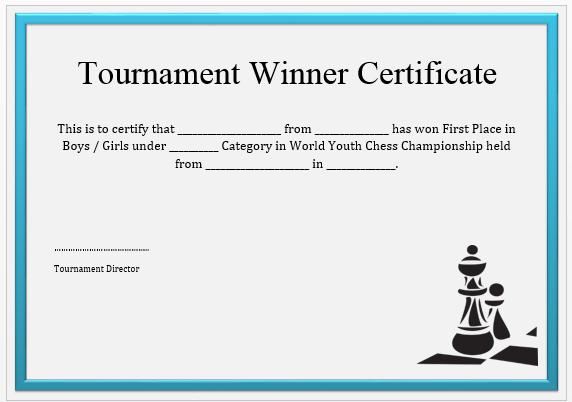 Chess Tournament Winner Certificate