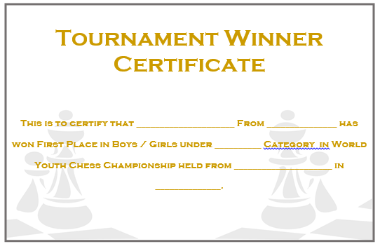 23 free printable chess certificates you can use for chess chess tournament winner certificate 2 yadclub Image collections